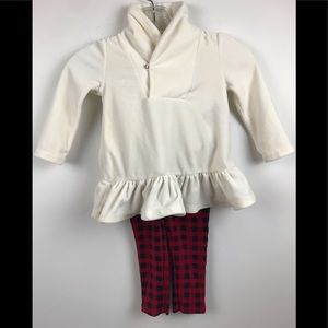 🎄White Velvet Red plaid Girls Holiday Outfit 24M